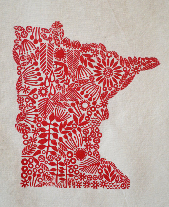 Minnesota Tea towel, screen printed state of Minnesota, cotton tea towel5